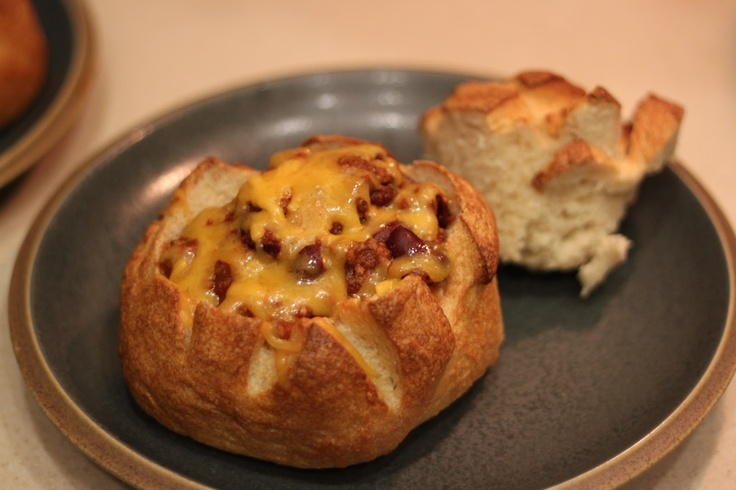 chili bread bowl. my kids seemed like they were kind of tired of chili. this helped give it a new twist.