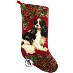 Tri Color Cavalier King Charles Spaniel Dog Needlepoint Christmas Stocking