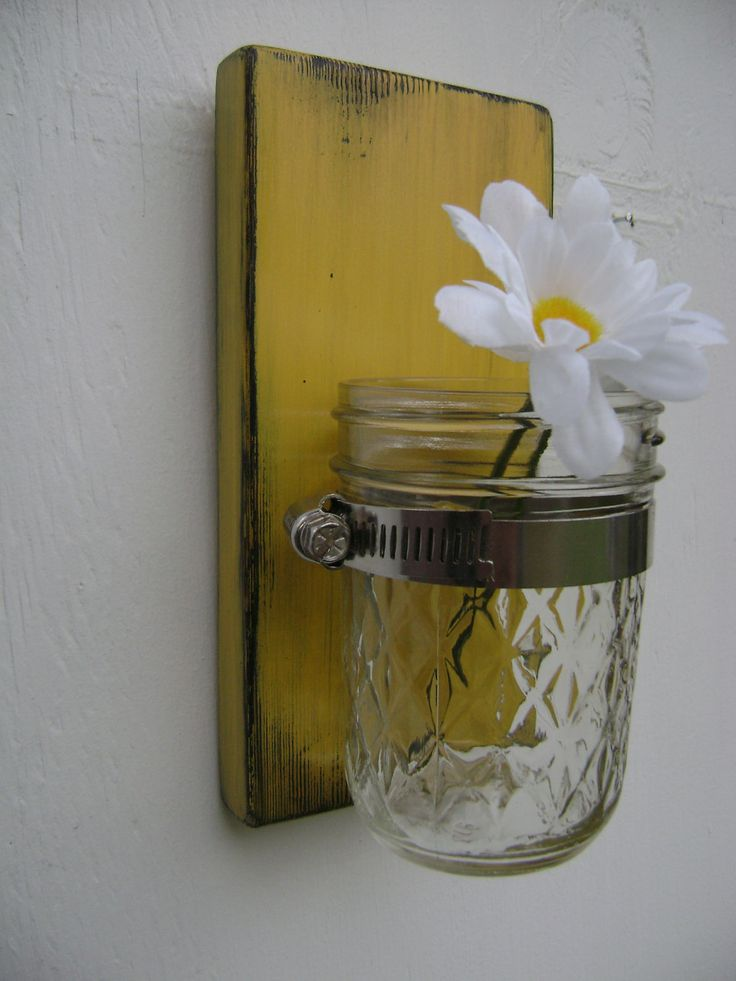 Rustic wood sconce mason jar wall vasE