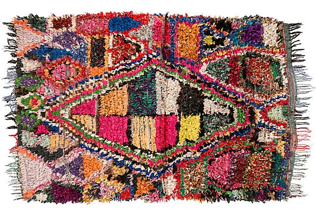 Boucherouite Rug, 6'10 Creative way to use carpet scraps