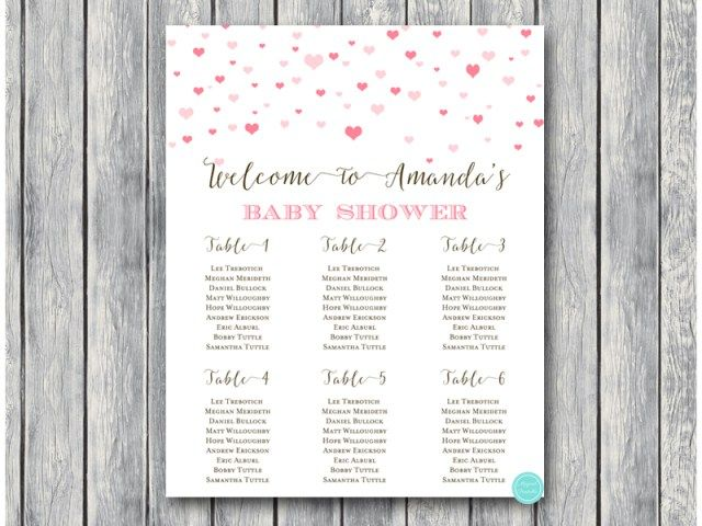 sn595 hearts baby shower seating chart pink girl hearts printable