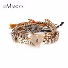 US $14.69 eManco Stylish Simple Hollow Oval Heart Multilayers Charms Bracelets & Bangles for Women Beads Ancient Brand Jewelry. Aliexpress product