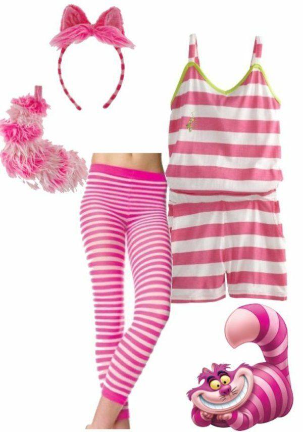 dekorieren grinsekatze kostüm rosa lila streifen body