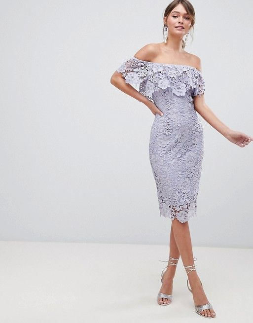 98e0e97a9099c Paper Dolls Ruffle Bardot Lace Midi Dress in 2019