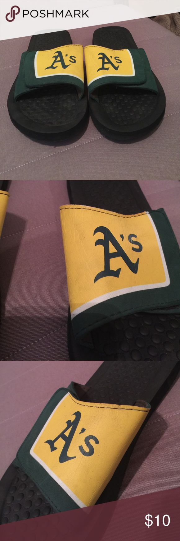 Oakland Athletic's flip flops Oakland Athletic's flip flops (sliders) slightly worn (see second and third pictures) Shoes Sandals & Flip-Flops