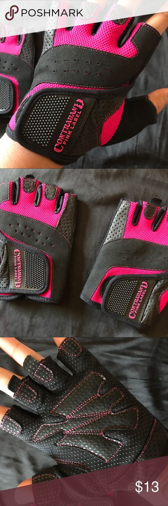 Large Women's Contraband Pink Label Lifting Gloves New!! Never used before. Weight lifting gloves with grip lock padding in pink. Best seller on amazon. contraband Accessories Gloves & Mittens