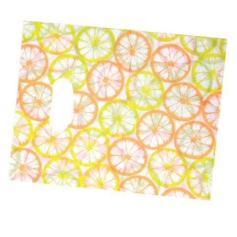 100pcs Bulk White Base Orange&Green Orange Slice Pattern Plastic Carrier Bags J