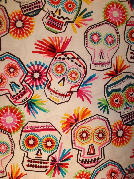 Pinata de Los Muertos Alexander Henry day of the dead fabric Dia de Los Muertos. $9.50, via Etsy.