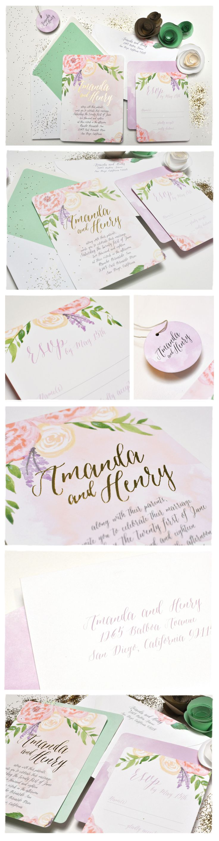 Ideas about map wedding invitation on pinterest - Peony With Foil Wedding Invitation Suite Smitten On Paper Hand Illustrated Flowers With Watercolor