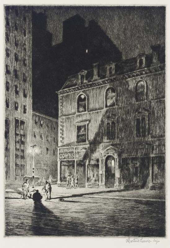 Martin Lewis, printmaker (1883-1962)  The Great Shadow,  Drypoint, 1925