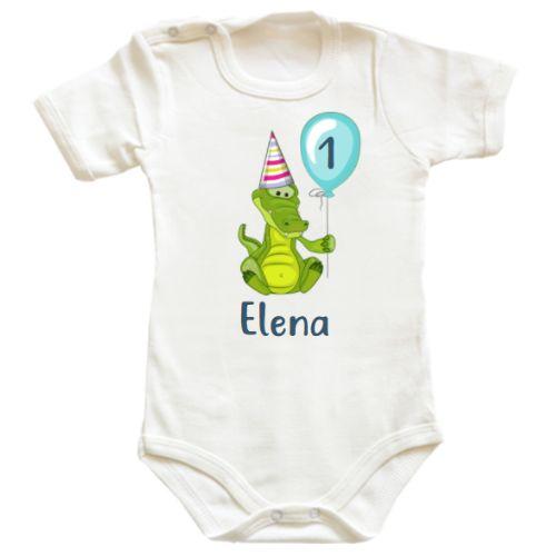 Un simpatic crocodil si balon este designul perfect pe un body bebe pentru un bebelus sau o bebelusa care isi sarbatoreste primul sau al doilea anisor, sau, de ce nu, prima jumatate de anisor.