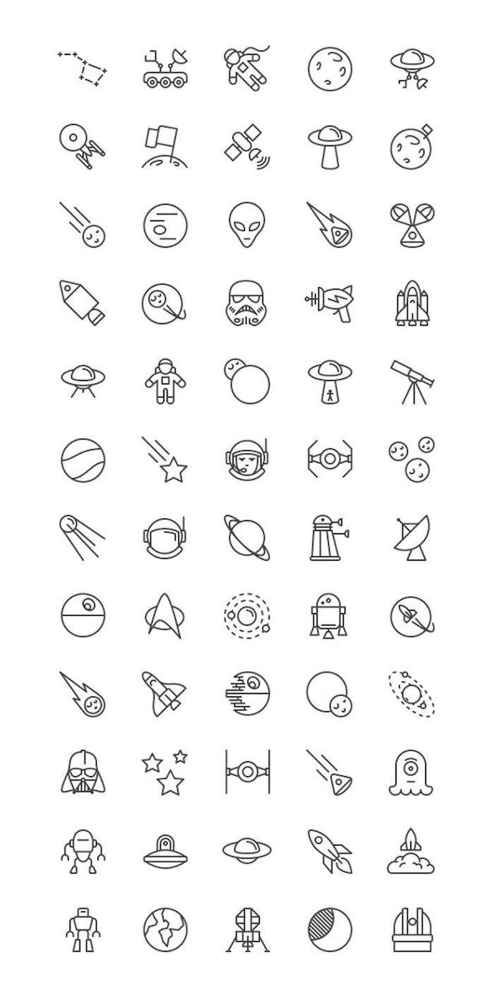 Verschiedene Ideen Für Kleine Weiße Star Wars Tattoos Mit Planeten, Sonnen,  Robotern Und Einem
