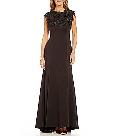 Ignite Evenings Beaded Applique Mock Neck Sleeveless ALine Gown #Dillards