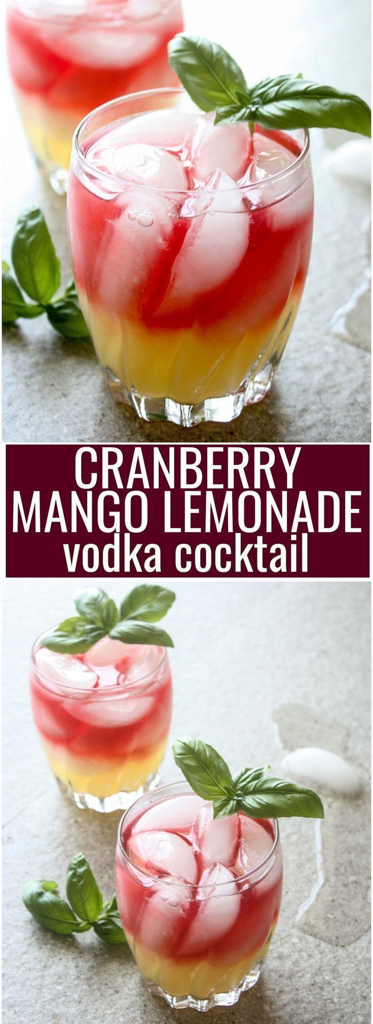 Cranberry Mango Lemonade Vodka Cocktail #cocktailrecipes