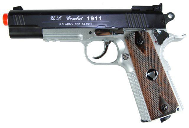 TSD CO2 Blowback M1911 Airsoft Pistol - TSD CO2 Blowback M1911 Airsoft Pistol, Black Metal Slide, Silver Nylon Frame, & Wood Grips. Adjustable Hop Up, 475+ FPS with .20g BBs, Packaged in Pistol Case. Legal Disclaimer Restrictions: You must be 18 or older to order this product. In some areas, state and local laws further restrict or prohibit the sale and possession of this product. In ordering this product, you certify that you are at least 18 years old and satisfy your jurisdiction's legal…