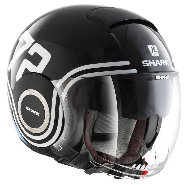 SHARK NANO 72 BLACK BLUE WHITE OPEN FACE MOTORCYCLE SCOOTER HELMET + SUN VISOR | Vehicle Parts & Accessories, Clothing, Helmets & Protection, Helmets & Headwear | eBay!