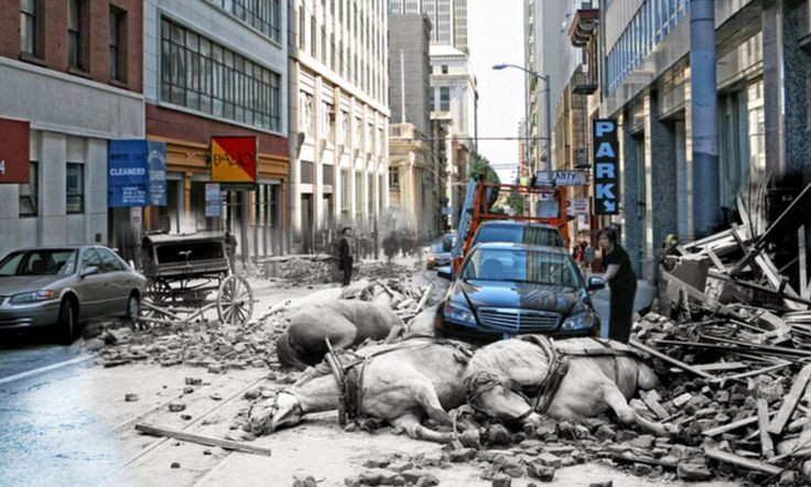 What if the 1906 San Francisco earthquake happened today? Photo trickery blends pictures of the time with city's streets today
