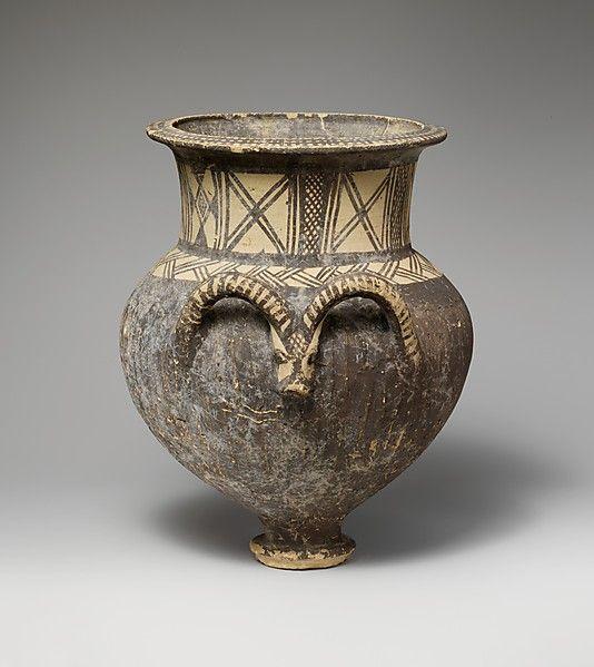 Terracotta amphora (jar)  Period:     Cypro-Geometric I Date:     1050–950 B.C. Culture:     Cypriot Medium:     Terracotta