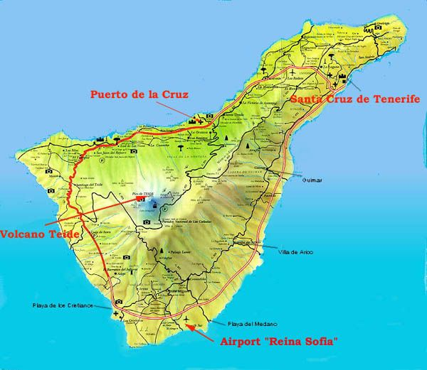 Isole Canarie Tenerife Mappa dell'isola