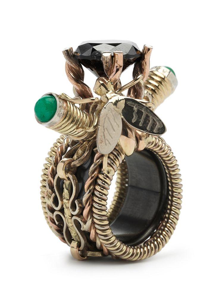 Diamond Point Steampunk gouden ring
