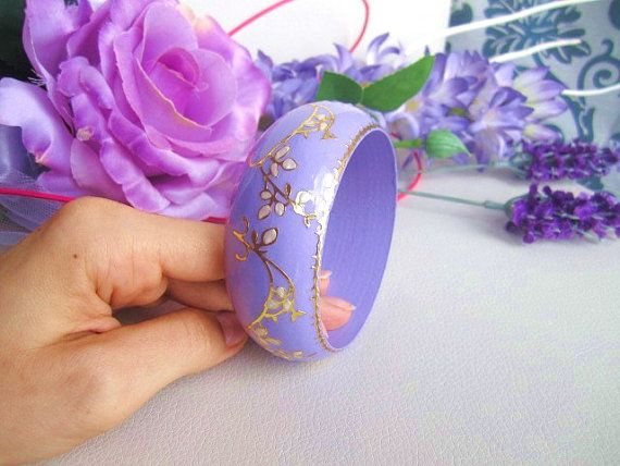Wood hand painted radiant orchid bracelet wooden by GattyGatty, $22.00