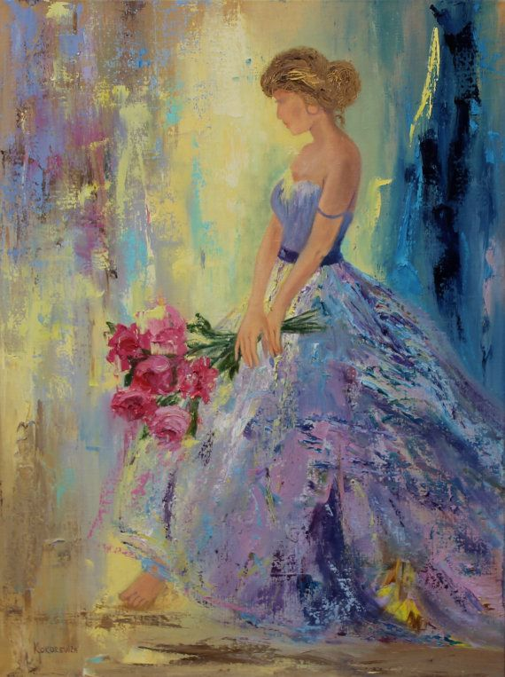 Girl with peonies by kokorevicaieva on Etsy