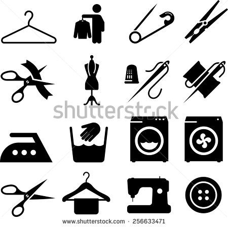 Laundry, alterations, dry cleaning and sewing icons. Vector icons for digital and print projects.