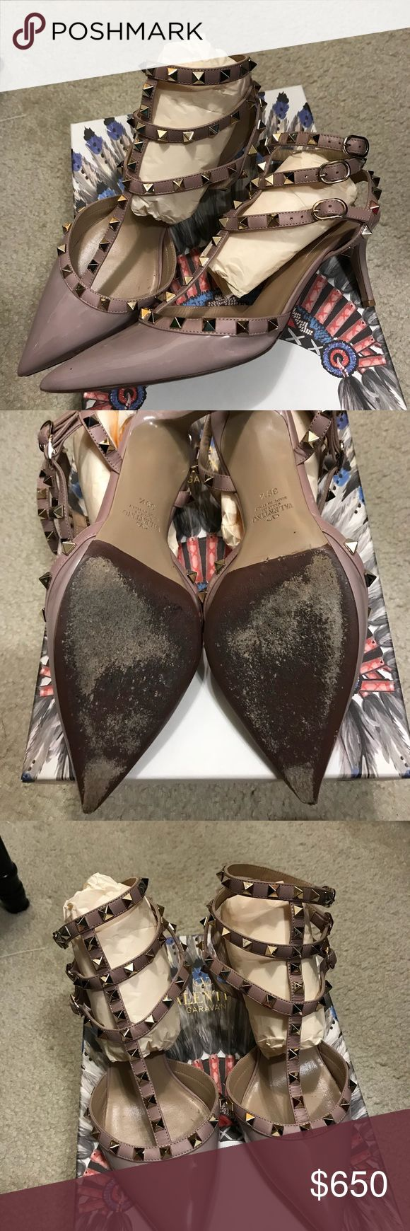 ⚡️⚡️⚡️Valentino Rockstud Caged Pumps Preloved condition due to bottom wear but lots of life left. Cobbler can easily revive to former beauty. Flaws shown on pic. Will come with non-Valentino box and dustbag Valentino Shoes Heels