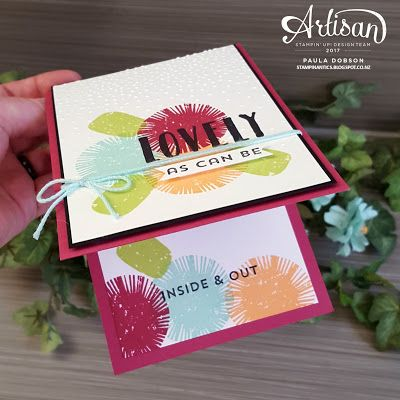 Paula Dobson - Stampinantics: Lovely Inside & Out cusotmer Thank You card this month.  CLick on the picture to see more of Paula's projects. #pauladobson #stampinantics #lovelyinsideandoutstampset