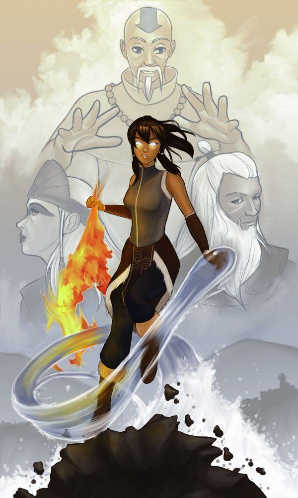 The cycle is complete: Aang (looking like Monk Gyatso), Kyoshi, Korra, and Roku.