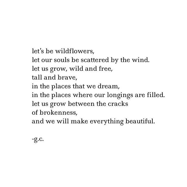 Let's be wildflowers. Let out souls be scattered by the wind. Let us grow, wild and free, tall and brave, in the places that we dream, in the places where our longings are filled. Let us grow between the cracks of brokenness and we will make everything beautiful.