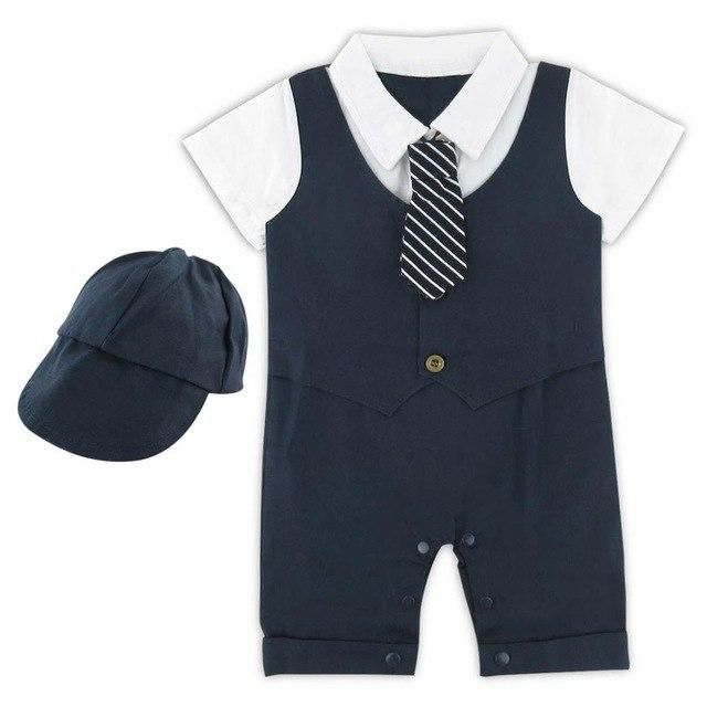 32d3daa3dc8a2 Baby Boy Gentleman Romper Wedding Party Jumpsuit Short Sleeve with Bow Tie  Suit Set Infant Toddler Vest Stripe with Hat