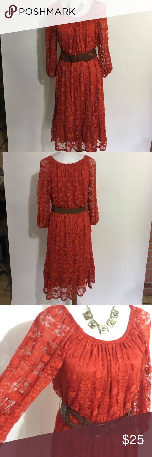 Orange lace dress with brown belt. Burnt Orange lace dress with brown belt. Dresses