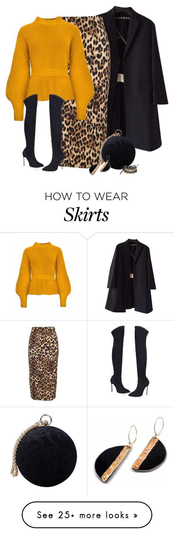 """Leopard Skirt & Round Bag"" by majezy on Polyvore featuring Rochas, Alberto Biani, Carvela and Avon"