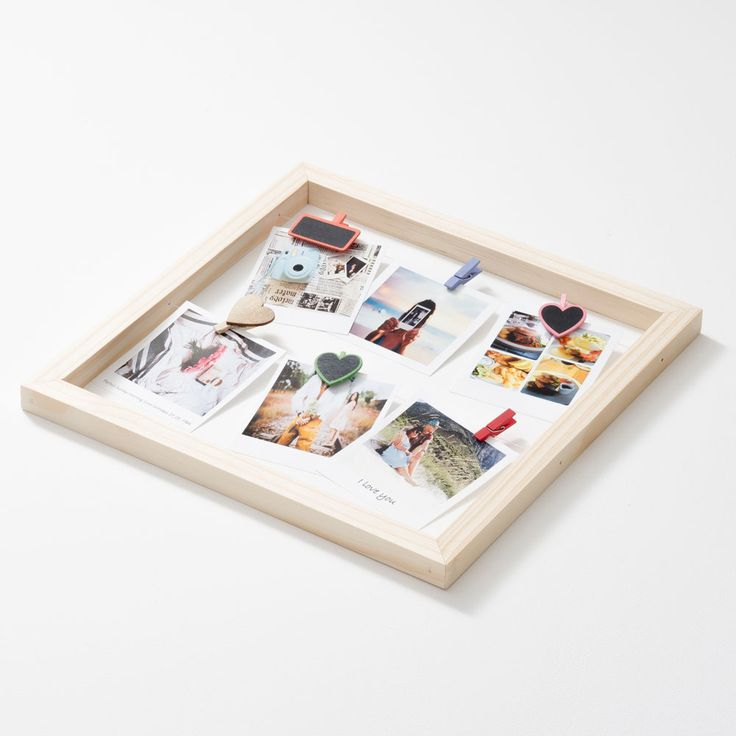 This stunning Square Floating Photo Frame is the perfect accent to your Polaroid Pictures. Display your super cute snaps with this trendy frame and our pegs.   This frame is made with pine and twine.