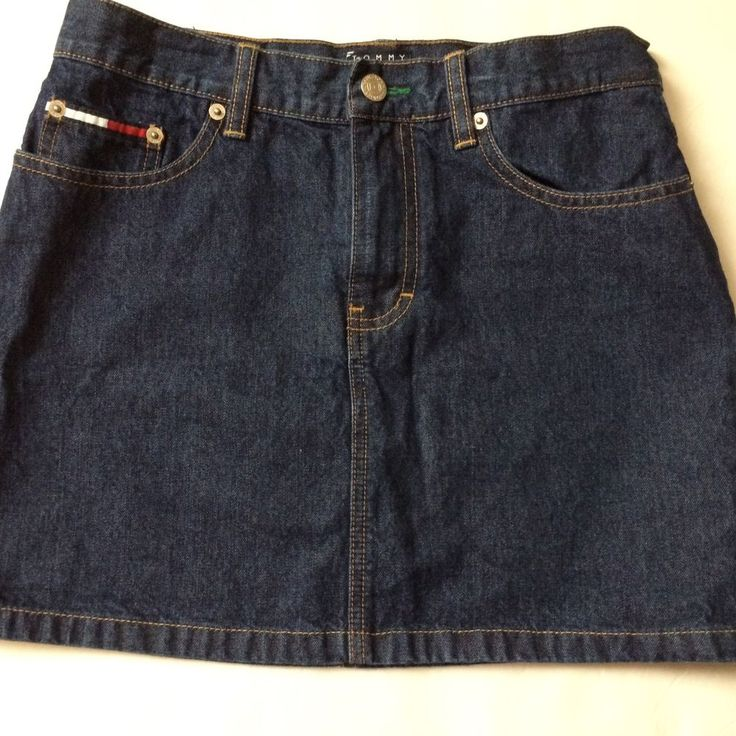 Tommy Hilfiger Womens Denim Mini Jean Skirt Blue Dark Wash Zip Up 5 Pocket Sz 5 #TommyHilfiger #Mini