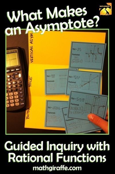 Free File Downloads (on the Math Giraffe blog) for Investigating Rational Functions - What makes an asymptote?  In the first activity students figure out for themselves what features of the function cause vertical asymptotes versus holes.  In the second, they determine what characteristics of a rational function cause horizontal versus slant asymptotes.