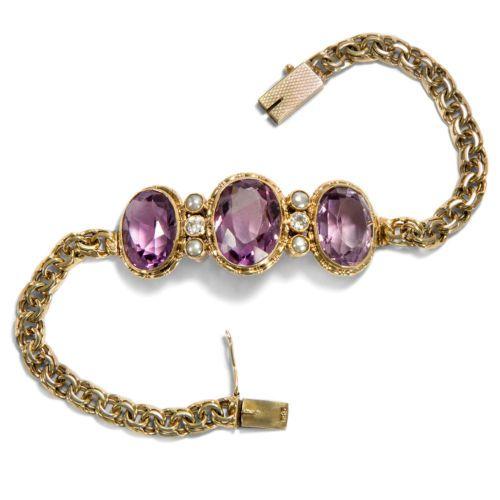 Um-1910-Huebsches-Armband-aus-Gold-Perlen-Diamanten-amp-Amethyst-Diamant-585