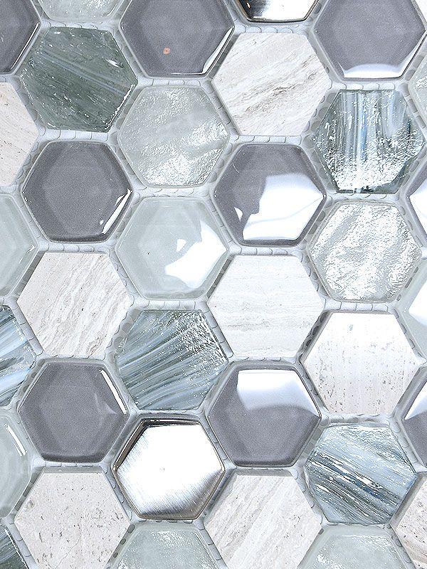 Blue Gray Hexagon Glass Marble Mosaic Backsplash Com Marble Mosaic Backsplash Mosaic Backsplash Grey Glass Tiles