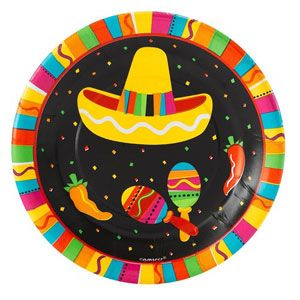 A549820 - Fiesta Fun Luncheon Plates Plates Fiesta Fun, 17.7cm Luncheon Size Paper - Pack of 8 . Please note: approx. 14 day delivery time.