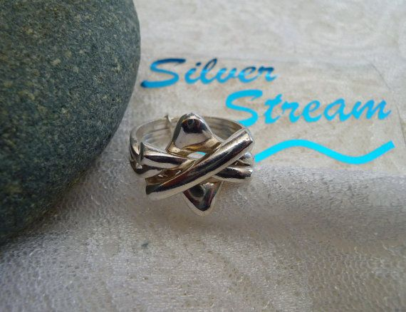 Puzzle Ring 4-Band Vintage Sterling Silver Unique …