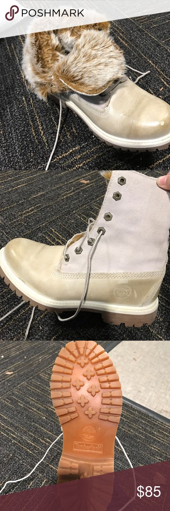 Women's timberland boots Size 6.5 women timberland boots with fur! Super cute can wear many different ways. Only worn a few times, were a gift, will work with price! Timberland Shoes Winter & Rain Boots