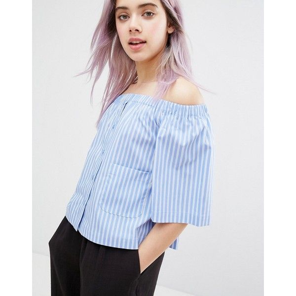 Monki 3/4 Sleeve Striped Bardot Top (€36) ❤ liked on Polyvore featuring tops, blue, stripe 3/4 sleeve top, blue top, off shoulder tops, three quarter sleeve tops and woven top