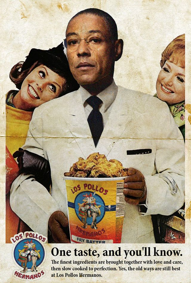 David Redon created Ads Libitum series of vintage ads that have been reimagined with modern pop culture celebrities and song lyrics.  (Los Pollos Hermanos - Breaking Bad)