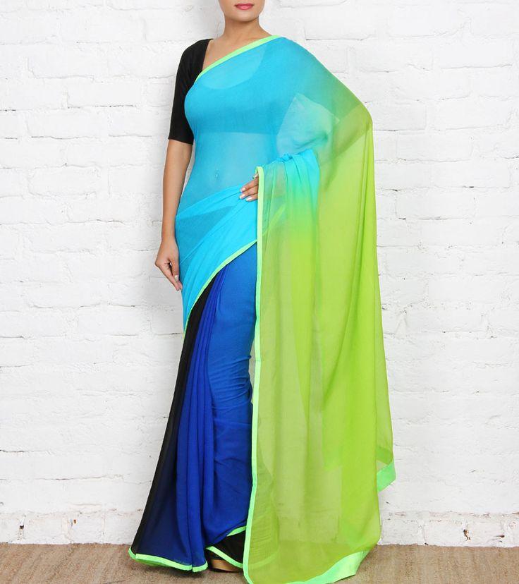 Multicoloured Ombre Chiffon Saree