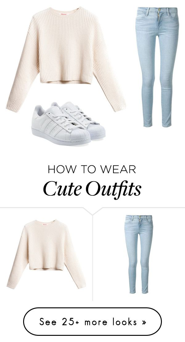 """How cute is this fall outfit"" by elliecarsburg on Polyvore featuring Frame Denim and adidas Originals"