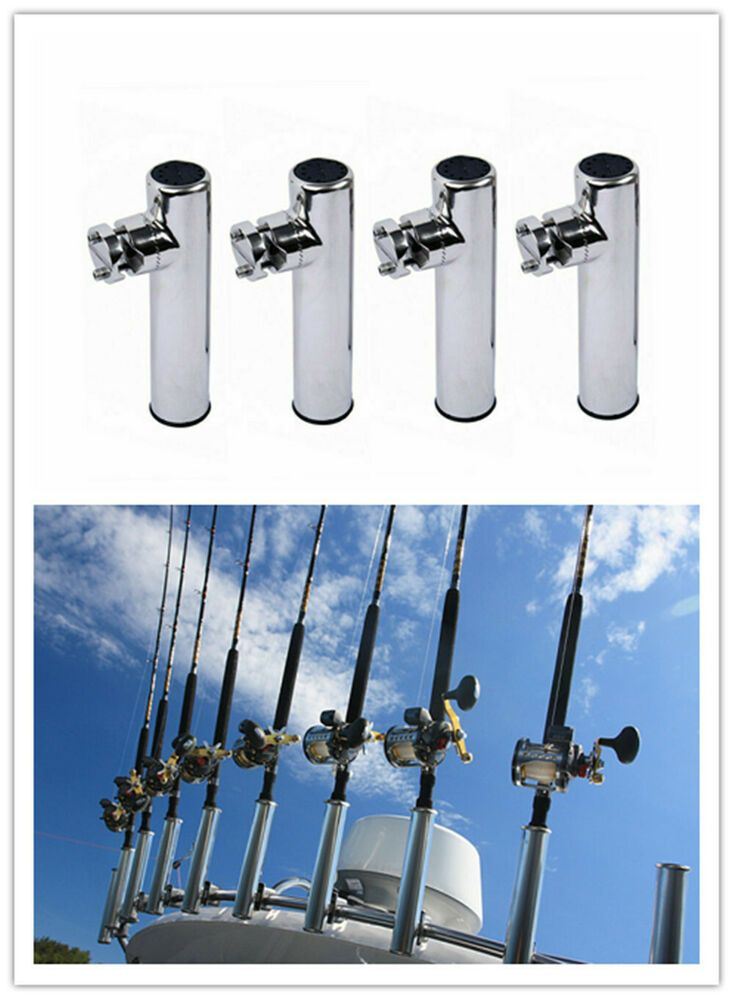 Stainless Steel Clamp on Fishing Boat Rod Holder for Rails 7//8/'/' to 1/'/' Tube