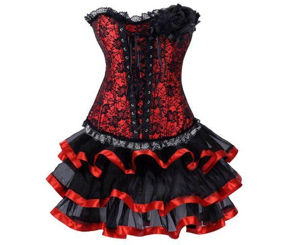 Red Vintage Gothic Lace Corset Top Tutu Skirt Dress Black White S Xxl