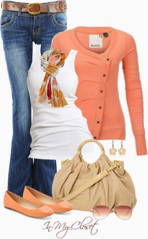 Casual Outfits | Soft Orange THE FOLD cardigan, MUSAC tank top, Vera Wang shoes, Moschino Bag, Vince Camuto sunglasses, Hugo Pratt scarf, bootcut jeans by in-my-closet