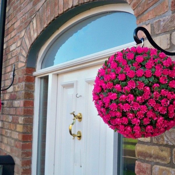 Artificial Pink Rose Topiary Hanging Flower Ball